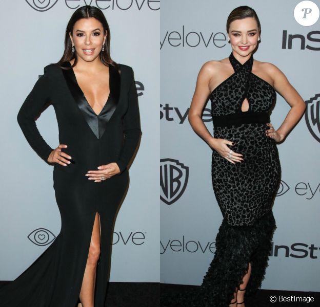 Eva Longoria et Miranda Kerr enceintes - After-party des Golden Globes organisée par Warner Bros. Pictures et InStyle. Beverly Hills, Los Angeles, le 7 janvier 2018.
