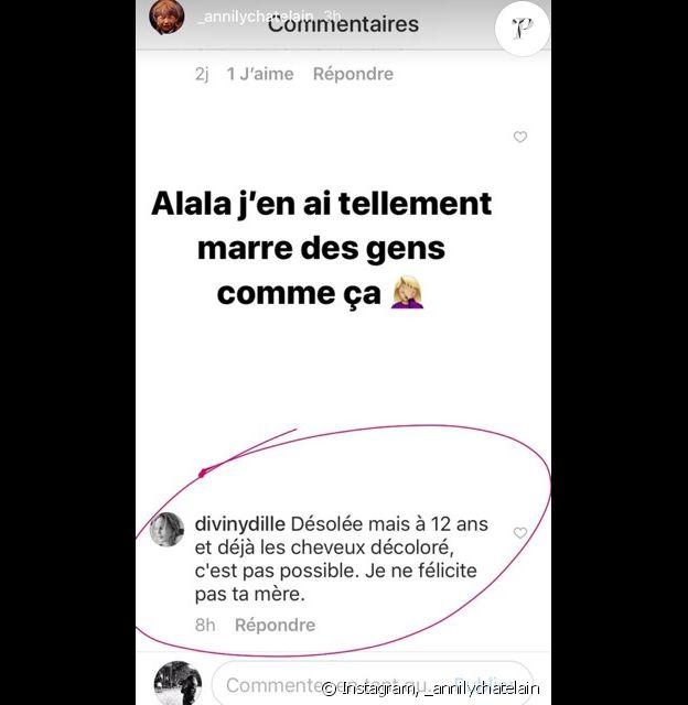 Annily Chatelain, la fille d'Alizée, agacée sur Instgram le 11 janvier 2018.