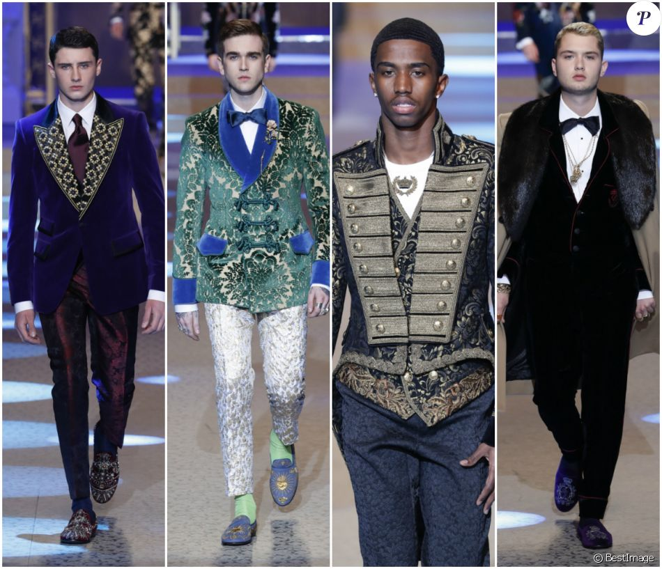 Noé Elmaleh, Gabriel-Kane Day-Lewis, Christian Combs et Rafferty Law au défilé Dolce & Gabbana à Milan le 13 janvier 2018
