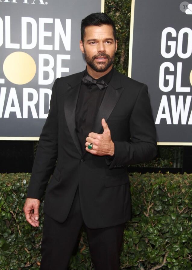 Ricky Martin sur le tapis rouge de la 75ème cérémonie des Golden Globe Awards au Beverly Hilton à Los Angeles, le 7 janvier 2018.