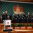 Le prince Albert II de Monaco et les 19 fonctionnaires de police distingués durant la traditionnelle cérémonie des voeux de la Sureté Publique de Monaco le 16 janvier 2018. © Bruno Bebert / Bestimage