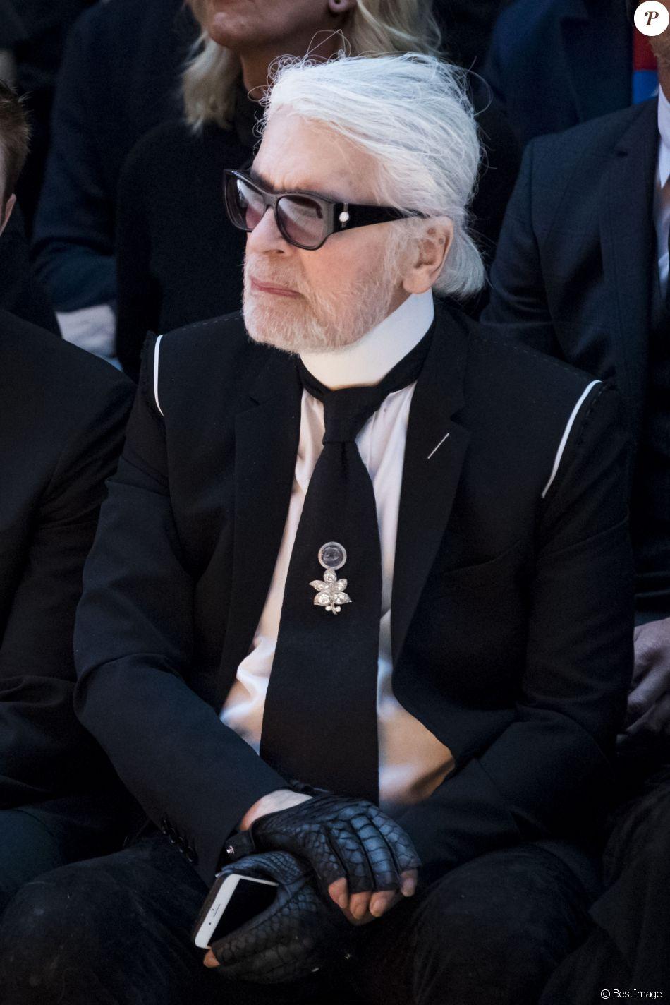 Karl Lagerfeld , Défilé de mode Dior Homme collection Automne/Hiver 2018/2019  à Paris, le 20 janvier 2018. © Olivier Borde/Bestimage