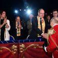 Pauline Ducruet, la princesse Stéphanie de Monaco, le prince Albert II de Monaco, Louis Ducruet et, derrière, sa compagne Marie et Robert Hossein lors de la soirée de remise des prix du 42ème Festival International du Cirque de Monte Carlo le 23 janvier 2018. © Bruno Bebert/Bestimage