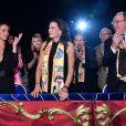 Pauline Ducruet, la princesse Stéphanie de Monaco et le prince Albert II de Monaco, derrière eux Robert Hossein et sa compagne Candice Patou, lors de la soirée de remise des prix du 42ème Festival International du Cirque de Monte Carlo le 23 janvier 2018. © Bruno Bebert/Bestimage