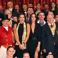 La princesse Stéphanie de Monaco et Pauline Ducruet entourées des artistes du Festival lors de la soirée de remise des prix du 42ème Festival International du Cirque de Monte Carlo le 23 janvier 2018. © Bruno Bebert/Bestimage