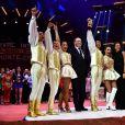 Le prince Albert II de Monaco et la princesse Stéphanie de Monaco ont remis un Clown d'Or à Merrylu et Jozseph Richter lors de la soirée de remise des prix du 42e Festival International du Cirque de Monte Carlo le 23 janvier 2018. © Bruno Bebert/Bestimage
