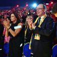 De gauche à droite, Pauline Ducruet, la princesse Stéphanie de Monaco et le prince Albert II de Monaco lors de la soirée de remise des prix du 42ème Festival International du Cirque de Monte Carlo le 23 janvier 2018. © Bruno Bebert/Bestimage