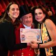 Pauline Ducruet et la princesse Stéphanie de Monaco avec Petit Gougou, le M. Loyal, lors de la soirée de remise des prix du 42ème Festival International du Cirque de Monte Carlo le 23 janvier 2018. © Bruno Bebert/Bestimage