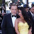 """Ayem Nour et son ancien compagnon Vincent Miclet au Festival de Cannes en mai 2015 - Montée des marches du film """"Inside Out"""" (Vice-Versa)."""