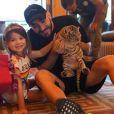 Karim Benzema en famille avec son fils et sa fille Mélia sur Instagram, le 31 décembre 2017.