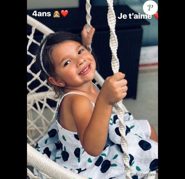 Karim Benzema poste une photo de sa fille Mélia sur Instagram à l'occasion de son 4e anniversaire, le 3 février 2018.