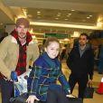 David Beckham et ses enfants Romeo, Cruz et Harper arrivent à l'aéroport de JFK à New York, le 9 février 2018.