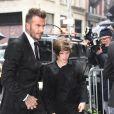 Victoria, David, Harper, Romeo et Cruz Beckham arrivent au restaurant français Balthazar dans le quartier de Soho à New York. Le 11 février 2018.