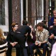 Victoria Beckham embrasse son mari David et leurs enfants à l'ssue du défilé Victoria Beckham, collection prêt-à-porter Automne-Hiver 2018. New York, le 11 février 2018.