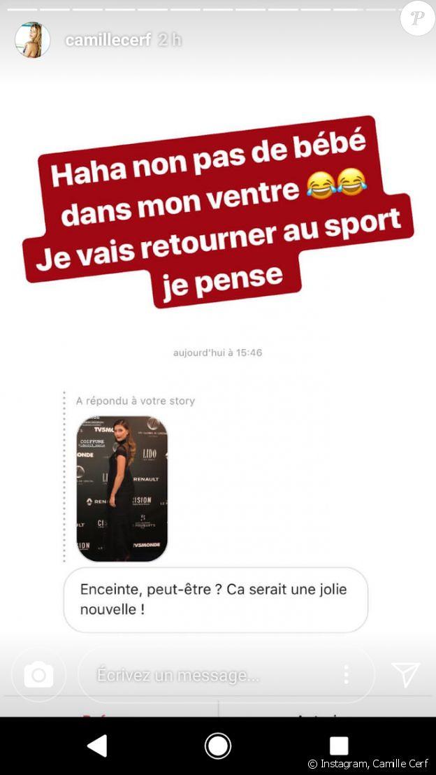 Story Instagram de Camille Cerf. Février 2018.
