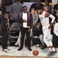 Kevin Hart, Diddy et Paul George assistent au NBA All-Star Game 2018 au Staples Center. Los Angeles, le 18 février 2018.