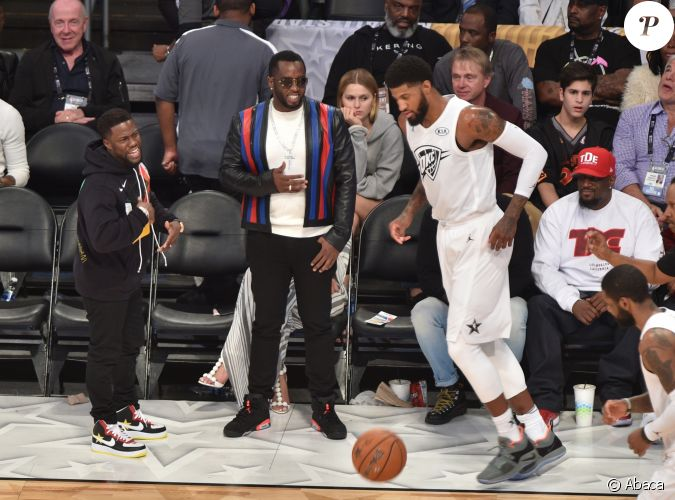 kevin hart diddy et paul george assistent au nba all star game 2018 au staples center los On celebrity sole watch 2018