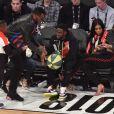 Kevin Hart en famille et Diddy assistent au NBA All-Star Game 2018 au Staples Center. Los Angeles, le 18 février 2018.