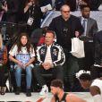 Salma (organisation After-School All-Stars), Arnold Schwarzenegger et Jack Nicholson assistent au NBA All-Star Game 2018 au Staples Center. Los Angeles, le 18 février 2018.