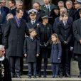 Le prince Nikolai de Danemark (à droite) avec la famille royale de Danemark à la sortie des obsèques du prince Henrik en l'église du château de Christiansborg à Copenhague le 20 février 2018