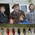 Le prince Henrik de Danemark avec ses petits-enfants les princes Felix et Nikolai, le prince Henrik et la princesse Athena lors de la chasse Hubertus le 6 novembre 2016.