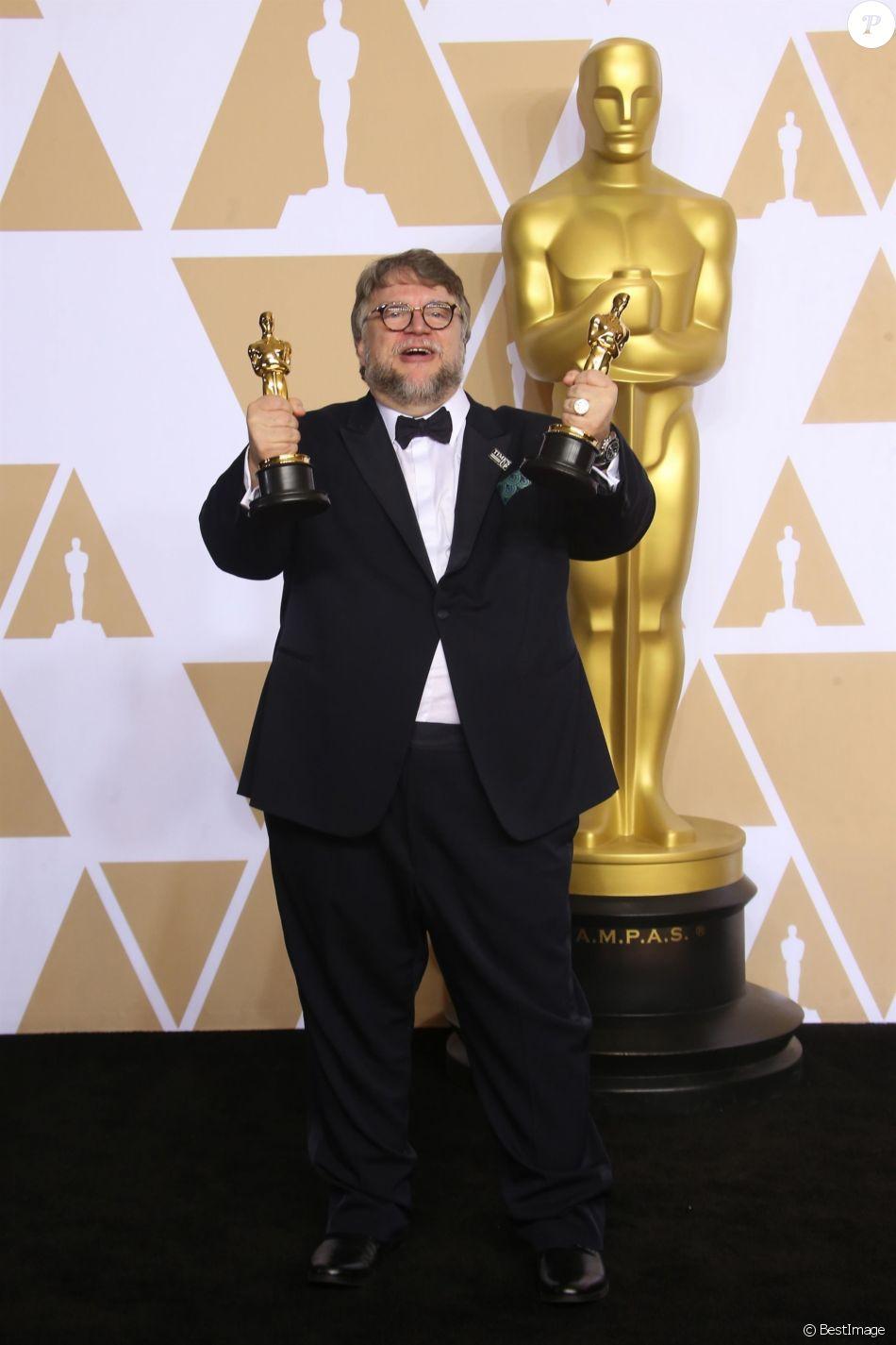 Guillermo del Toro (Oscar du meilleur film pour 'La Forme de l'eau') à la press room de la 90e cérémonie des Oscars 2018 au théâtre Dolby à Los Angeles, le 4 mars 2018