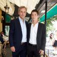 Exclusif - Bernard de La Villardière et son fils Nicolas de la Villardière lors de la 9e édition du déjeuner Pères et fils organisé au café Les Deux Magots à Paris, le 23 juin 2014.