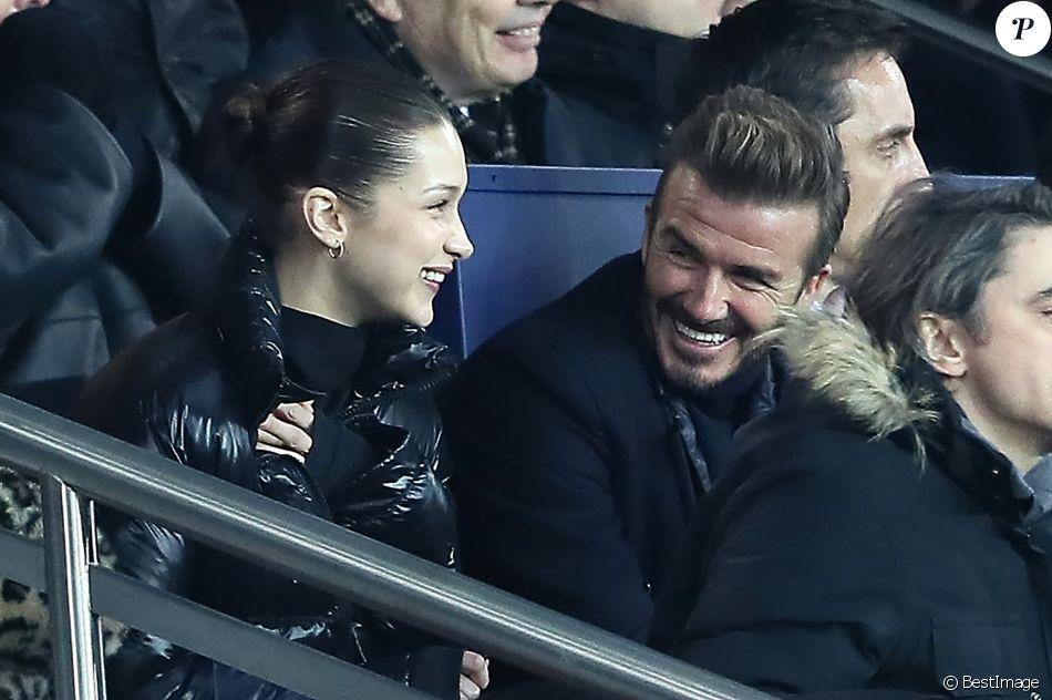 Bella Hadid et David Beckham - People lors du huitième de finale retour de Ligue des Champion, du Paris Saint-Germain contre le Real Madrid au Parc des Princes à Paris le 6 mars 2018. Le Real à remporté le match sur le score de 2 buts à 1. © Cyril Moreau/Bestimage