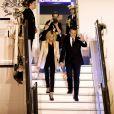 Le président Emmanuel Macron, La première dame Brigitte Macron lors de l'arrivée du couple présidentiel français à l'aéroport militaire de Delhi le 9 mars 2018. © Dominique Jacovides / Bestimage