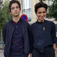 Farida Khelfa et son fils Ismael Seydoux à Paris. Le 20 juillet 2017.