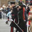 Le prince William, duc de Cambridge, colonel des Gardes irlandais et Catherine (Kate) Middleton, duchesse de Cambridge, enceinte, lors de la parade de la Saint Patrick à Houslow en présence du premier bataillon des gardes irlandais le 17 mars 2018.