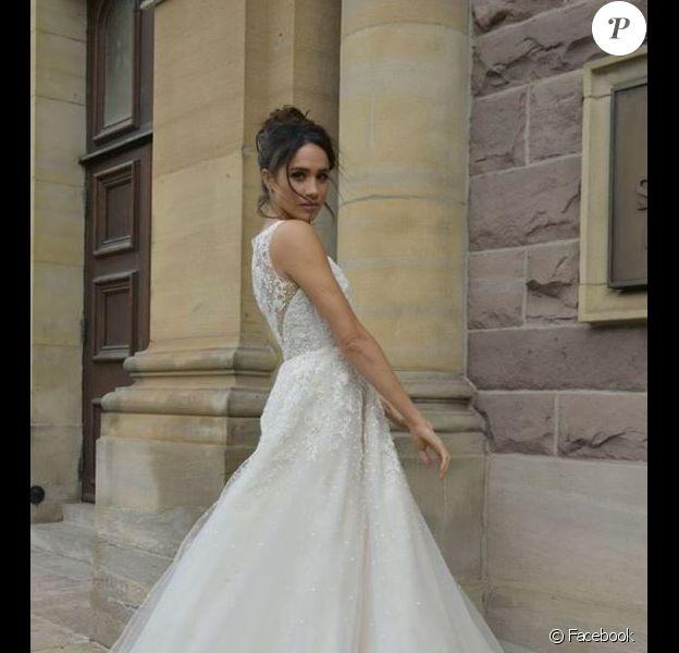 Meghan Markle en robe de mariée Anne Barge. Facebook, le 10 novembre 2016.
