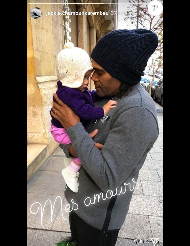 Christian Karembeu avec sa fille Gaïa, 7 mois, à Beyrouth, au Liban. Instagram, le 30 mars 2018.