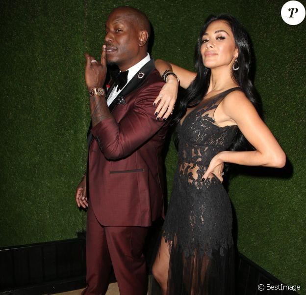 Tyrese Gibson et sa compagne Nicole Scherzinger - People à la sortie de la soirée des 75e Golden Globe Awards au Beverly Hilton à Beverly Hills. Le 7 janvier 2018