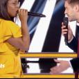 Karolyn et Edouard Edouard dans The Voice 7 sur TF1, le 14 avril 2018.