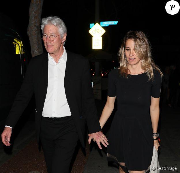 Richard Gere et sa compagne Alejandra Silva - Célébrités à la sortie d'une soirée privée au restaurant Delilah à Los Angeles, Californie, Etats-Unis, le 25 mars 2018.