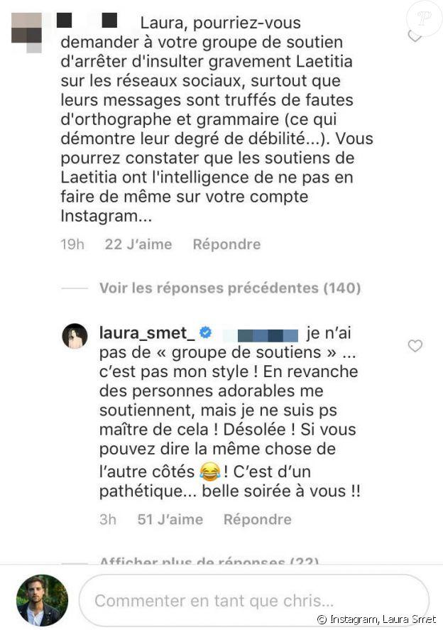 Laura Smet répond à un commentaire désobligeant pour ses soutiens sur Instagram, le 7 mai 2018.