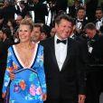 """Laura Tenoudji et Christian Estrosi - Montée des marches du film """"Everybody Knows"""" lors de la cérémonie d'ouverture du 71ème Festival International du Film de Cannes. Le 8 mai 2018"""