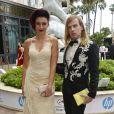 Semi Exclusif - Delphine Wespiser (robe Christophe Guillarmé), accompagnée de Christophe Guillarmé, quitte l'hôtel Majestic lors du 71ème festival international du film de Cannes le 9 mai 2018 © CVS / Bestimage