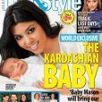"""Kourtney Kardashian présente son fils Mason en couverture du magazine """"Life & Style"""". Décembre 2009."""