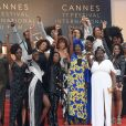 "Khadja Nin, le collectif des 16 actrices ""Noire n'est pas mon métier"" : Nadege Beausson-Diagne, Mata Gabin, Maïmouna Gueye, Eye Haïdara, Rachel Khan, Aïssa Maïga, Sara Martins, Marie-Philomène NGA, Sabine Pakora, Firmine Richard, Sonia Rolland, Magaajyia Silberfeld, Shirley Souagnon, Assa Sylla, Karidja Touré, France Zobda (Habillées en Balmain) - Montée des marches du film « Burning » lors du 71ème Festival International du Film de Cannes. Le 16 mai 2018 © Giancarlo Gorassini / Bestimage  Red carpet for the movie « Burning » during the 71th Cannes International Film festival. On may 16th 201816/05/2017 -"