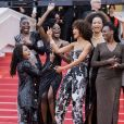 "Le collectif des 16 actrices ""Noire n'est pas mon métier"" dont Sonia Rolland, Shirley Souagnon (Habillées en Balmain) - Montée des marches du film "" Burning "" lors du 71ème Festival International du Film de Cannes. Le 16 mai 2018 © Borde-Jacovides-Moreau/Bestimage"