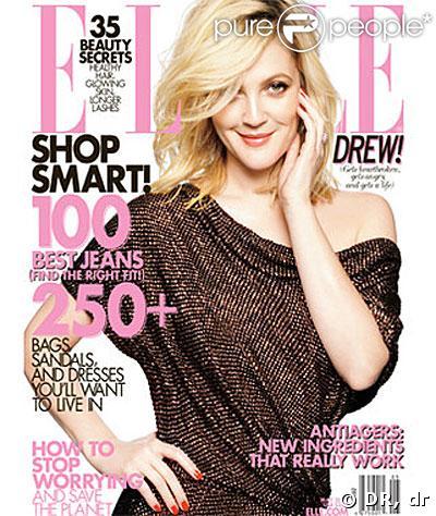 Drew Barrymore en couverture de Elle US pour le mois de mai 2009