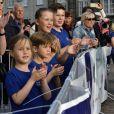 La princesse Josephine, le prince Vincent, la princesse Isabella et le prince Christian avec leur mère la princesse Mary applaudissant le prince héritier Frederik de Danemark lors de l'arrivée de la Royal Run (organisée pour son 50e anniversaire) de 10 kilomètres à Copenhague le 21 mai 2018.