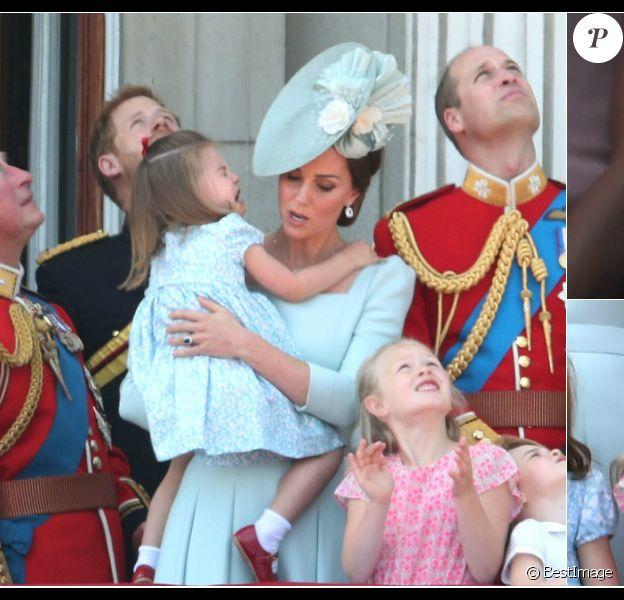 La famille royale britannique lors de la parade militaire Trooping the Colour à Londres le 9 juin 2018
