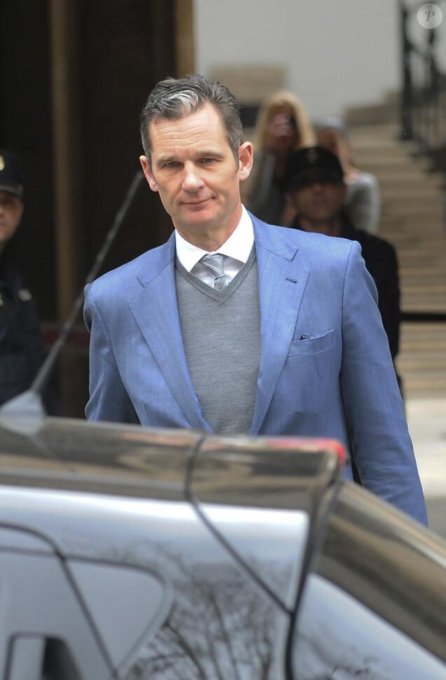 Iñaki Urdangarin, mari de l'infante Cristina d'Espagne, quittant le tribunal de Palma de Majorque le 23 février 2017.