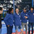 """Zinédine Zidane et ses coéquipiers Christian Karembeu, Fabien Barthez, Lionel Charbonnier, Robert Pirès et Youri Djorkaeff - À l'occasion du 20ème anniversaire de la victoire des Bleus en Coupe du monde, l'ex-entraîneur du Real Madrid inaugure un terrain pour les jeunes à côté du Stade de France le """"playground ZZ 10"""", à Saint-Denis, le 11 juin 2018. © Bestimage"""
