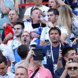Michel Cymes, Bruno Solo, Fabrice Santoro, Jean-Roch lors de France-Argentine en 8e de finale de la Coupe du monde de football le 30 juin 2018 à Kazan en Russie. © Cyril Moreau/Bestimage