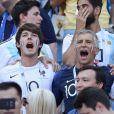 Dylan Deschamps, Nagui et sa femme Mélanie Page lors de France-Argentine en 8e de finale de la Coupe du monde de football le 30 juin 2018 à Kazan en Russie. © Cyril Moreau/Bestimage