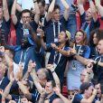 Black M (Alpha Diallo), Issa Doumbia, Rachel Legrain-Trapani, Miss France 2007 et Alicia Aylies, miss France 2017 lors de France-Argentine en 8e de finale de la Coupe du monde de football le 30 juin 2018 à Kazan en Russie. © Cyril Moreau/Bestimage